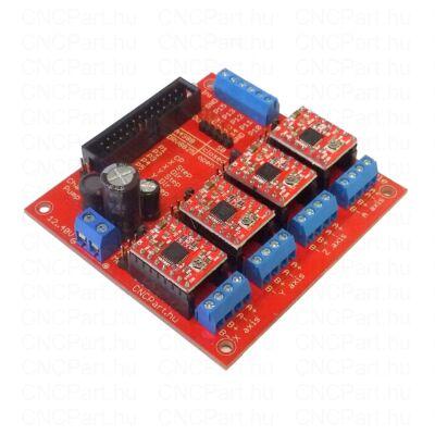 4 tengelyes léptető motor vezérlő bölcső 4db A4988 modullal